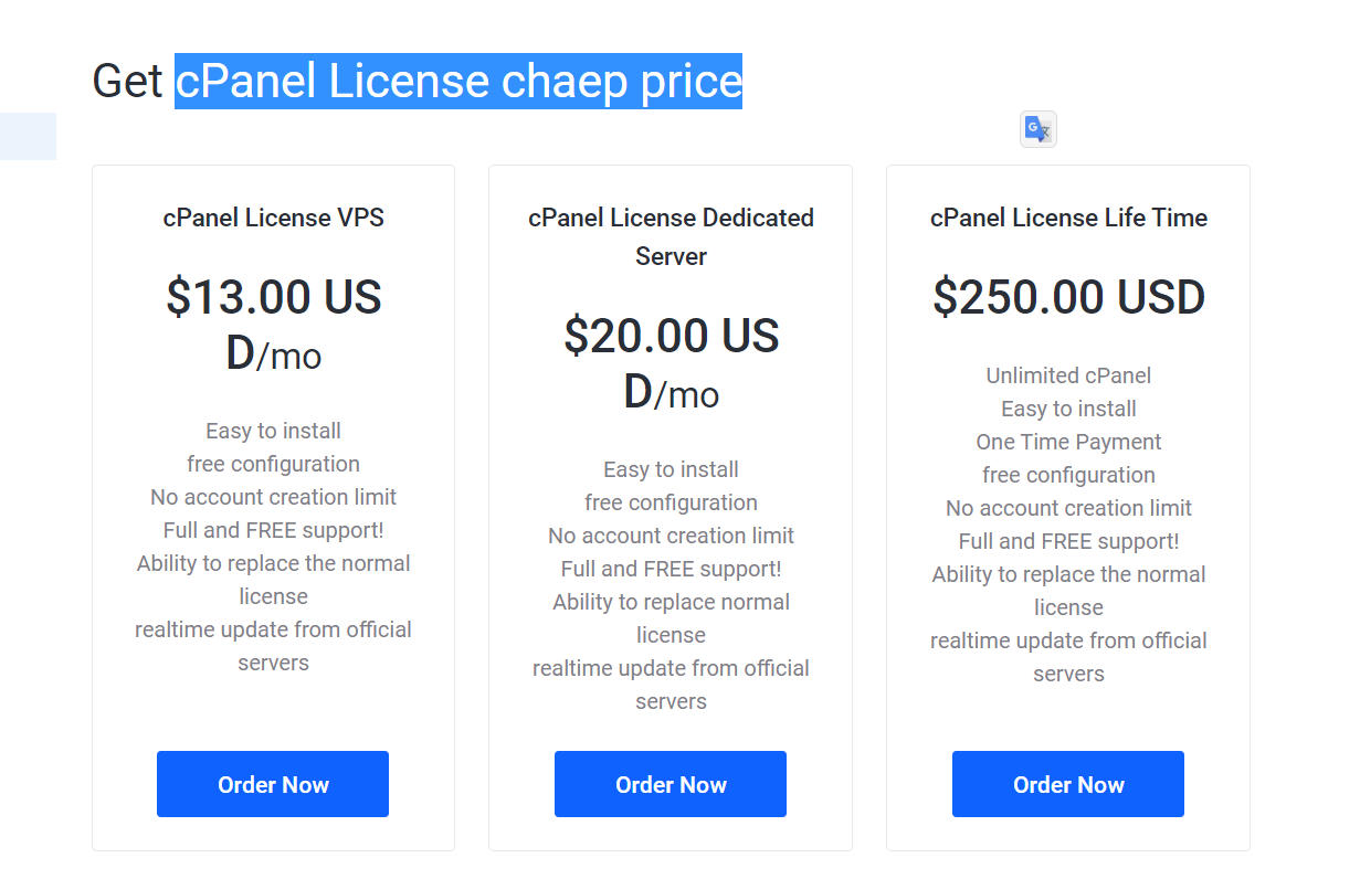 cheap price cpanel License